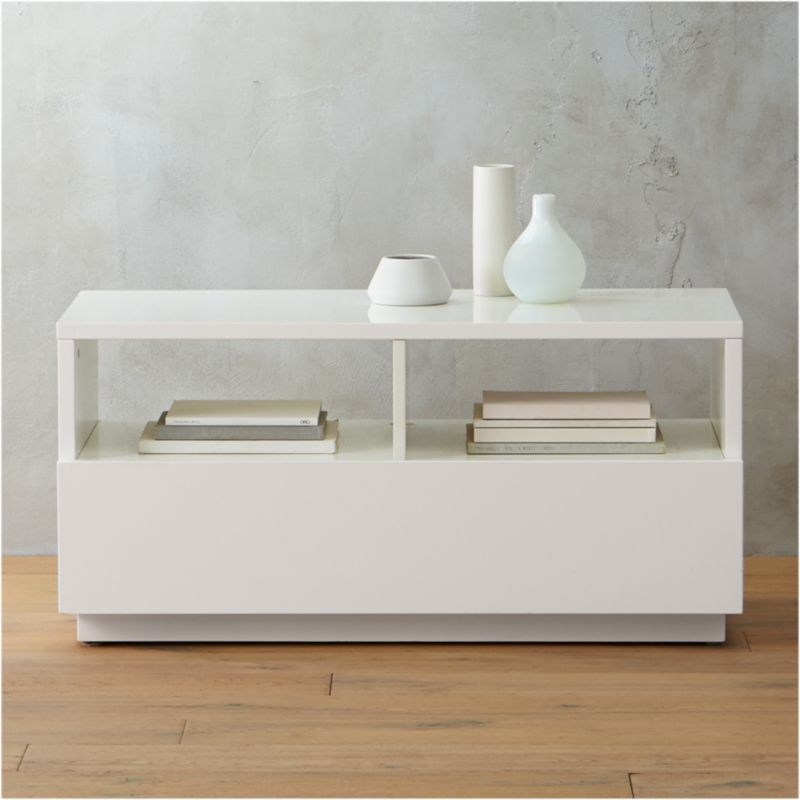 Well Known Grey Shagreen Media Console Tables In White Storage (View 7 of 25)