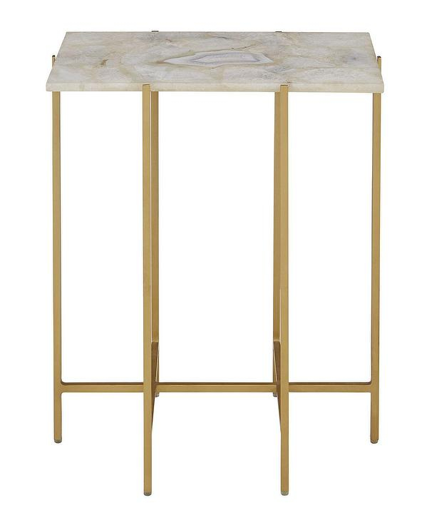 Well Known Mix Agate Metal Frame Console Tables Within Blinn Ivory Agate Gold Iron Side Table (View 7 of 25)