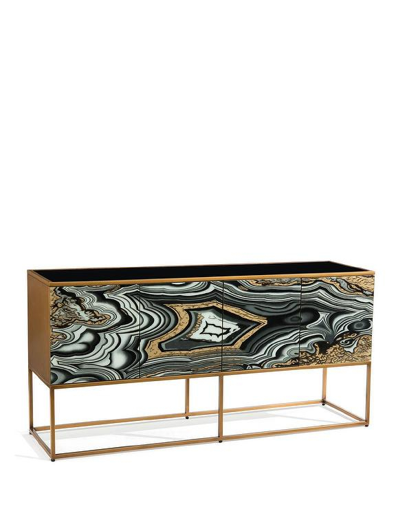 Well Known Mix Agate Metal Frame Console Tables Within Nicola Painted Gold Black Agate Console (View 11 of 25)
