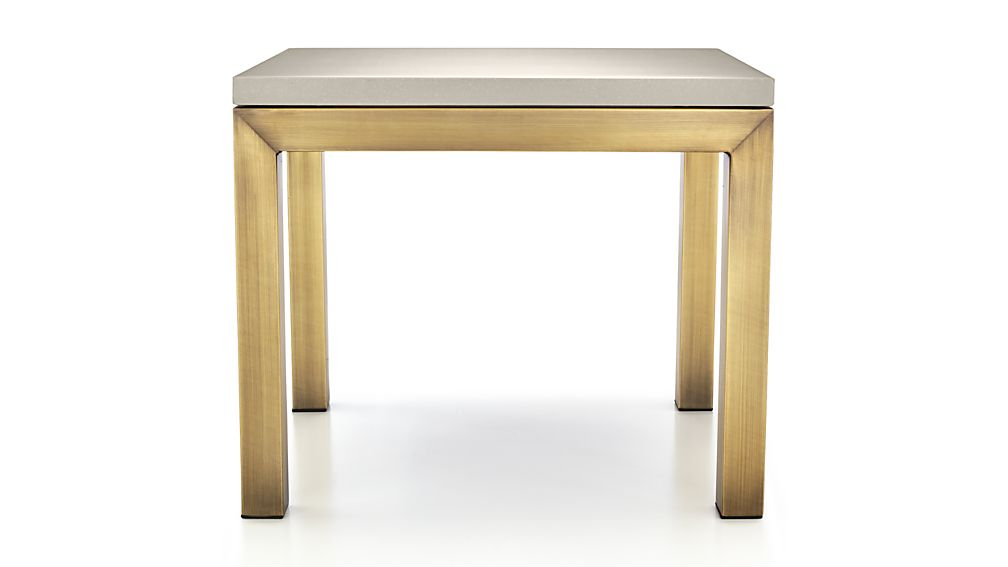 Well Known Parsons Grey Solid Surface Top & Stainless Steel Base 48X16 Console Tables With Regard To Parsons Grey Solid Surface Top/ Brass Base 20X24 End Table + Reviews (View 3 of 25)