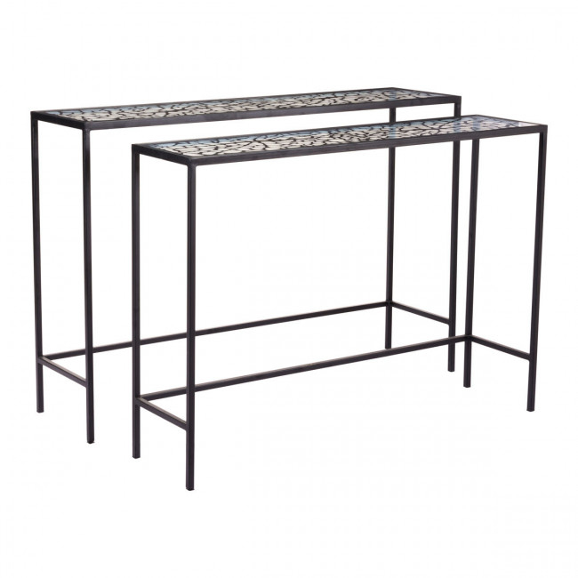 Well Known Scattered Geo Console Tables Intended For A10739 – Web Set Of 2 Console Tables Black (Image 24 of 25)