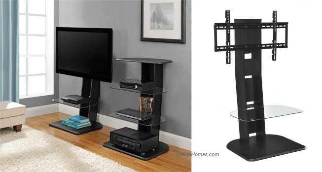 Well Known Slim Tv Stands For 50 Inch Slim Tv Stand With Bracket And Glass Shelves In Black Color (View 8 of 25)