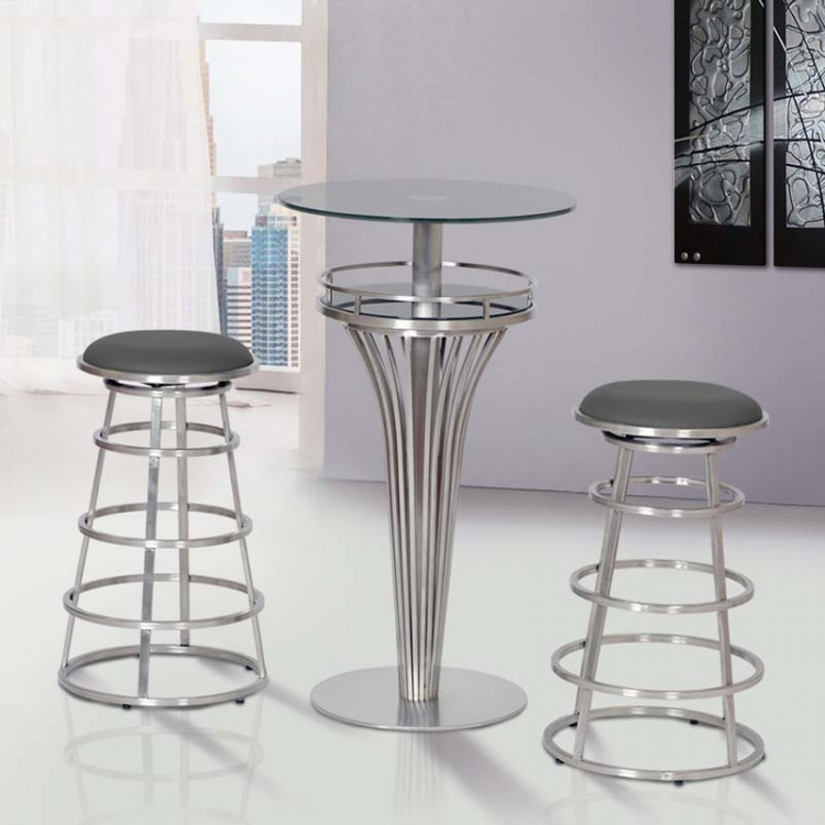 Well Known Yukon Grey Console Tables Regarding Yukon Contemporary Bar Table In Stainless Steel And Gray Frosted (Image 22 of 25)