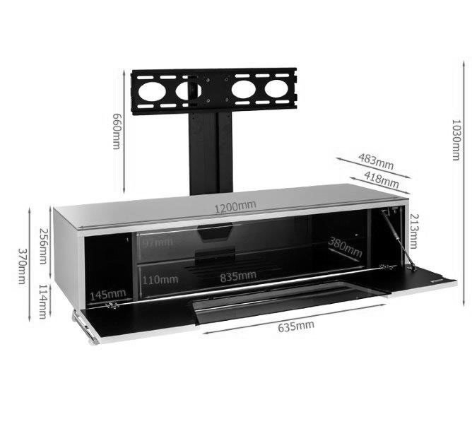 Well Liked Alphason Tv Cabinet Inside Alphason Chromium 1200Mm Tv Stand With Bracket In Black (Cro (Image 23 of 25)