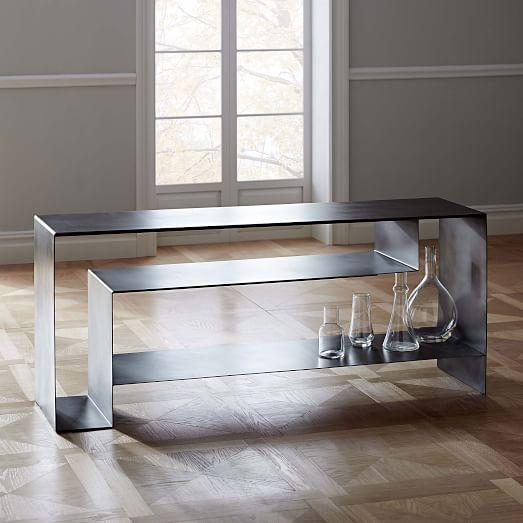 Well Liked Gunmetal Media Console Tables Intended For Silver Iron Open Storage Media Console (View 3 of 25)