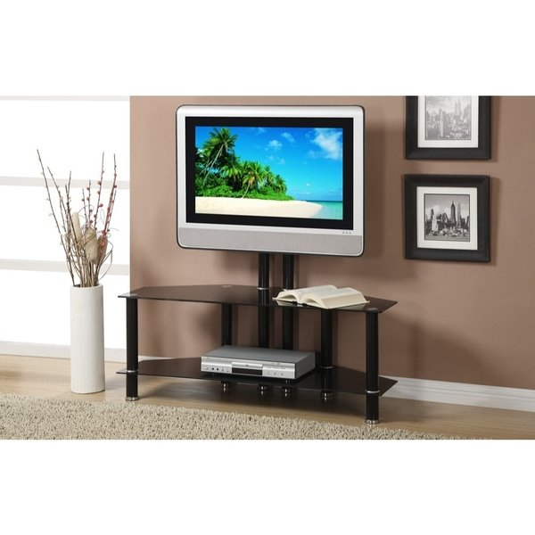 Well Liked Laurent 70 Inch Tv Stands Pertaining To Shop Metal & Glass Tv Stand With Adjustable Height & 2 Shelves (View 12 of 25)