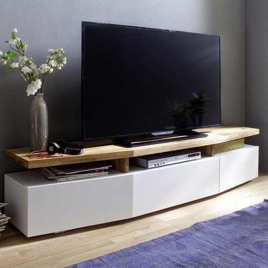 Well Liked Modern Low Tv Stands Throughout Alexia Wooden Tv Stand In Knotty Oak And Matt White In  (Image 23 of 25)