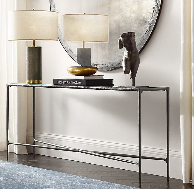 Well Liked Parsons Grey Marble Top & Brass Base 48X16 Console Tables Regarding Thaddeus Forged Brass & Glass Rectangular Entry Console (Image 25 of 25)