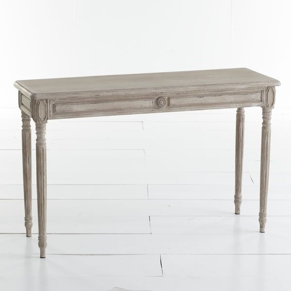 Well Liked Parsons Travertine Top & Dark Steel Base 48X16 Console Tables Pertaining To Antiqued Gustavian Console (Image 25 of 25)