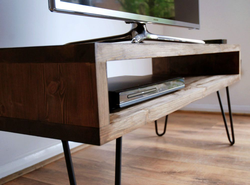 Well Liked Rustic Wood Tv Cabinets With Vintage Retro Box Tv Stand W/ Metal Hairpin Legs Solid Wood, Rustic (Image 24 of 25)