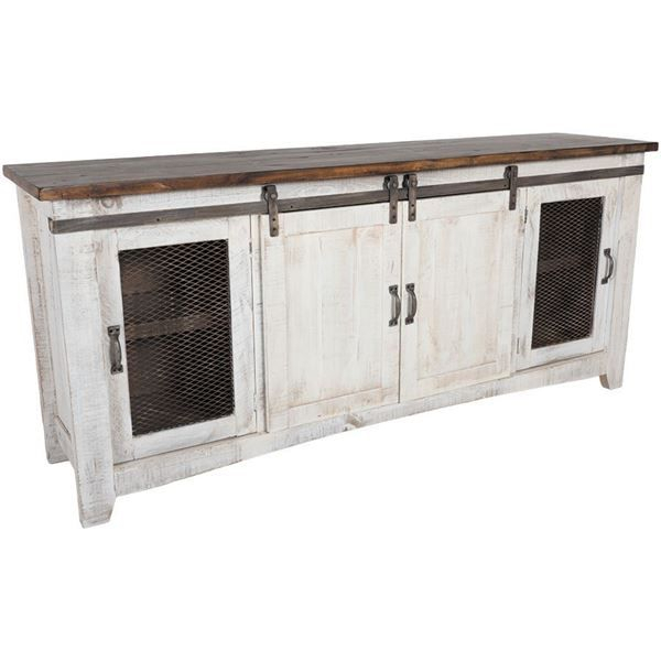 "Well Liked Sinclair Grey 68 Inch Tv Stands For Pueblo 80"" Barn Door Tv Stand (View 24 of 25)"