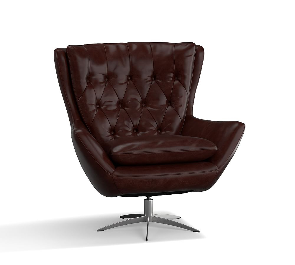 Wells Leather Swivel Armchair, Polyester Wrapped Cushions For Espresso Leather Swivel Chairs (Image 25 of 25)
