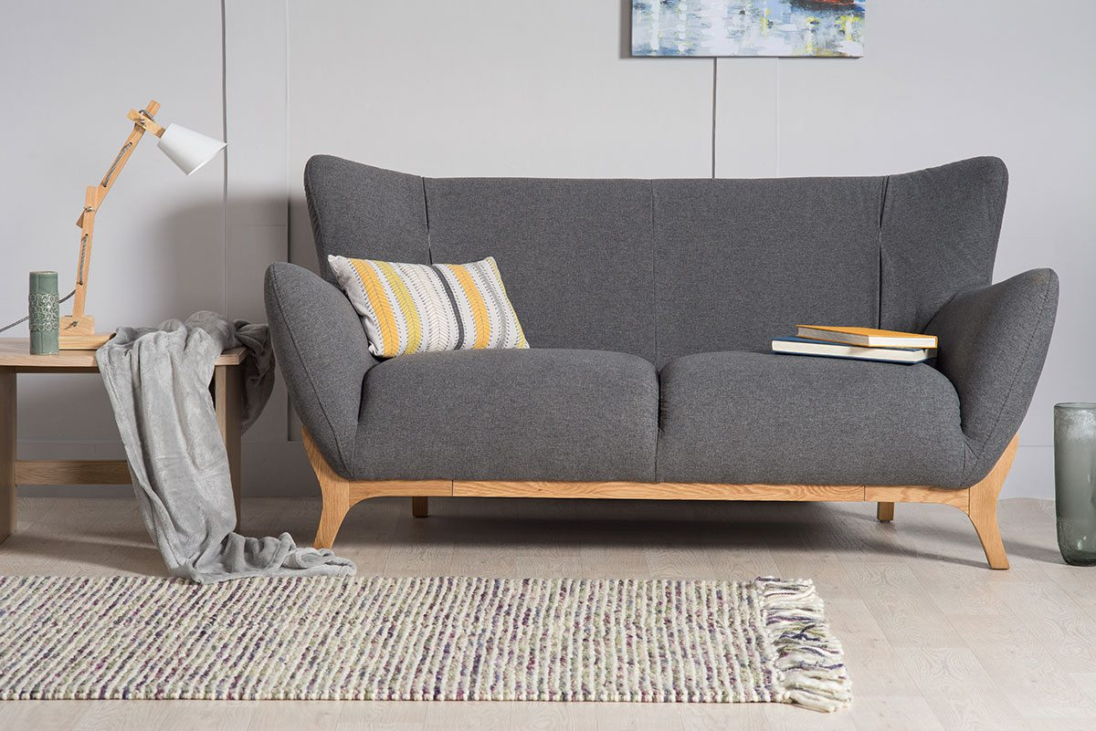 Wesley Dark Grey Two Seater Upholstered Sofa | Bella Casa London With London Dark Grey Sofa Chairs (Image 25 of 25)