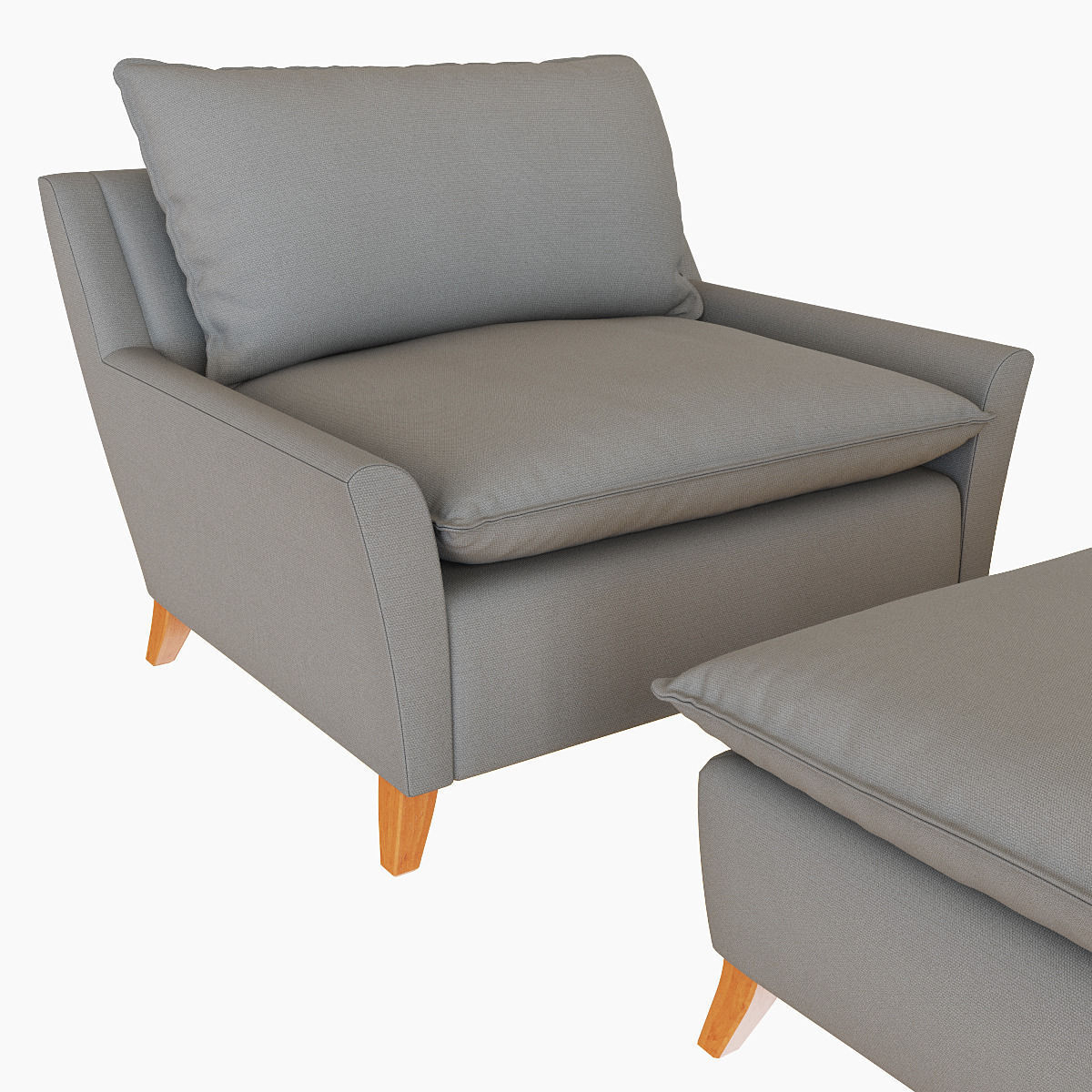 West Elm Bliss Down Filled Chair And A Half 3D Model Max Obj Mtl Fbx For Elm Sofa Chairs (Image 25 of 25)