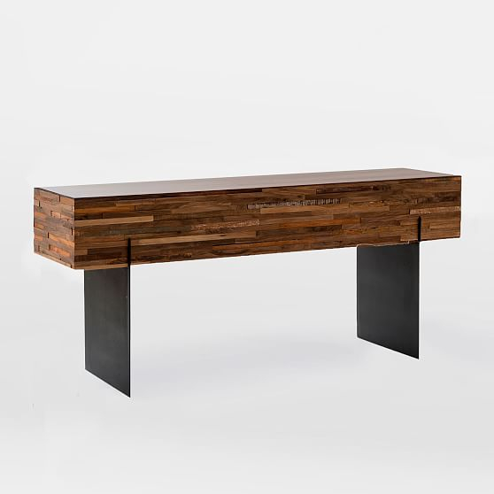 West Elm Mixed Wood Console – Media Cabinets – Entertainment Centers In Widely Used Parsons Walnut Top & Elm Base 48X16 Console Tables (View 12 of 25)