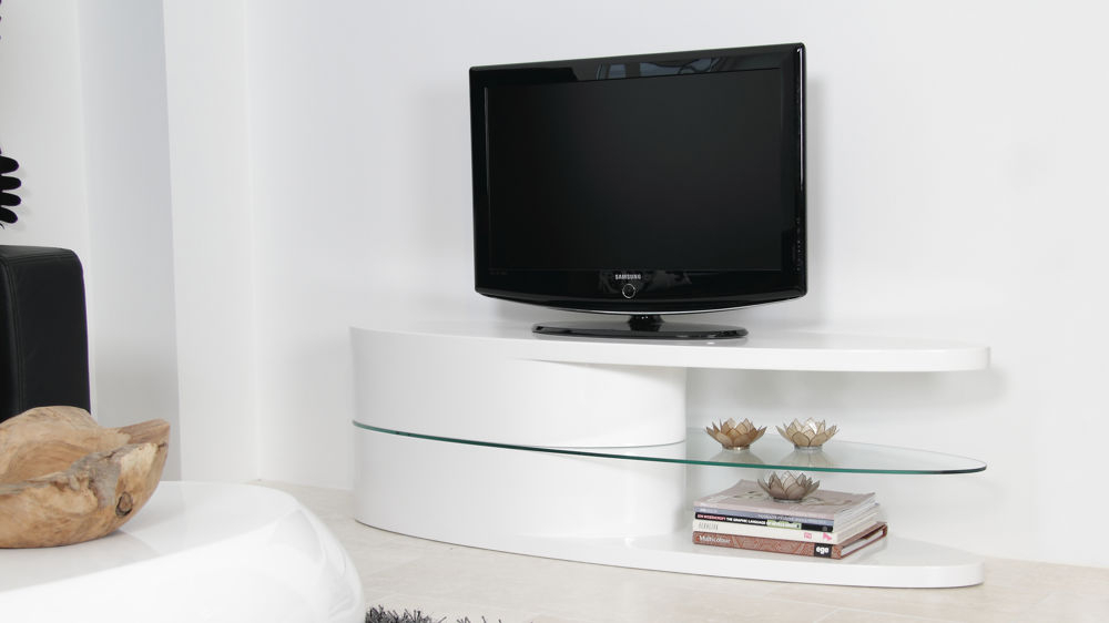 White Gloss Oval Tv Stand Throughout Most Up To Date Black Gloss Tv Stands (Image 25 of 25)