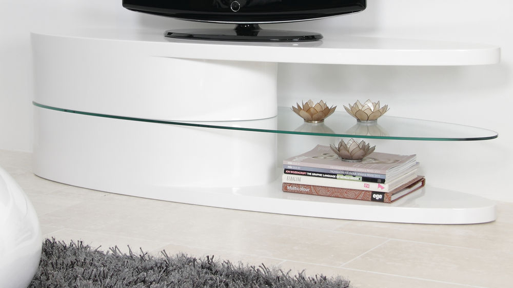 White Gloss Oval Tv Stand (View 2 of 25)