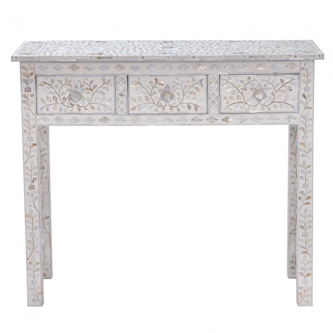 White Mother Of Pearl Inlay 3 Drawer Console Floral Online Inside Well Known Black And White Inlay Console Tables (View 14 of 25)