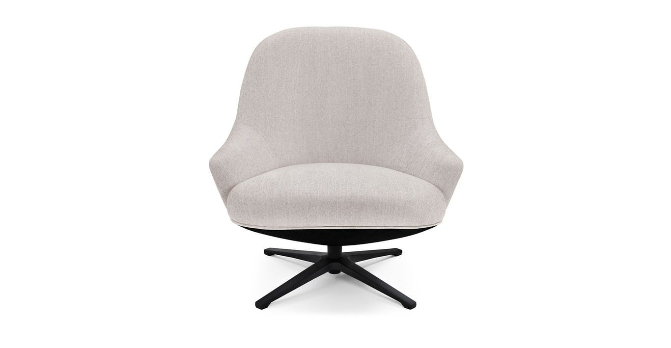 White Swivel Armchair, Black Metal Base | Article Twirl Modern Within Twirl Swivel Accent Chairs (Image 24 of 25)