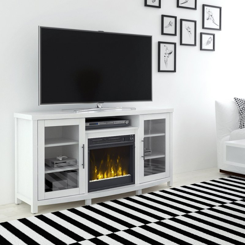 White Tv Stand With Fireplace (54 Inch) – Rossville (Image 25 of 25)