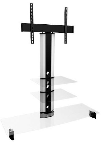 White Tv Stands With Clear And Black Glass Within 2017 White Cantilever Tv Stand (Image 25 of 25)