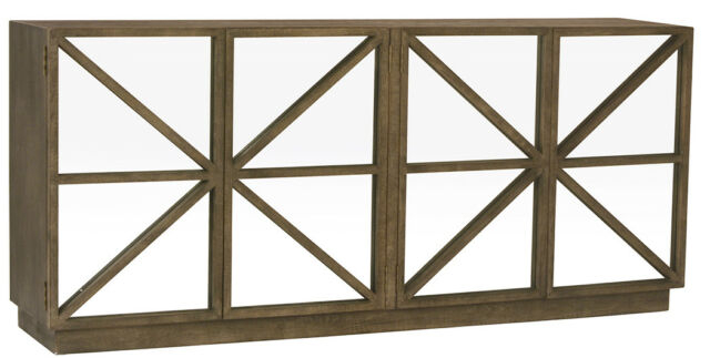 Widely Used Burnt Oak Metal Sideboards Within Black Burnt Oak Mirror On Doors Sideboard/buffet,80'' X 36''h (View 11 of 25)