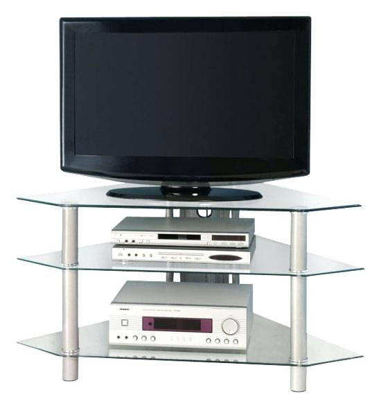 Widely Used Glass Front Tv Stands Within Silver Tv Stand Walker Corner For S Up To Front Standard Clear Glass (Image 24 of 25)
