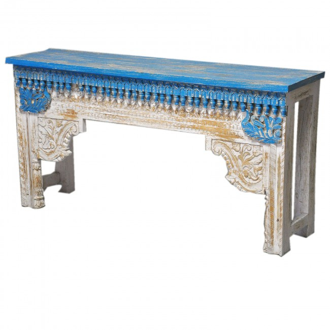 Widely Used Hand Carved White Wash Console Tables Inside Antique Indian Hand Carved White Blue Console Hall Table (Image 25 of 25)