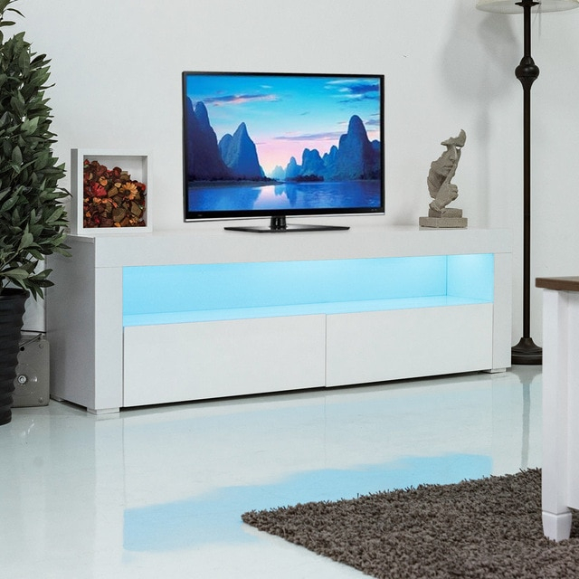 Widely Used Led Tv Cabinets For Giantex Living Room Tv Stand Unit Cabinet Console Furniture With Led (View 10 of 25)