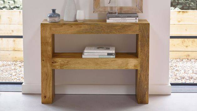 Widely Used Natural Wood Mirrored Media Console Tables In Oak Console Tables (View 21 of 25)