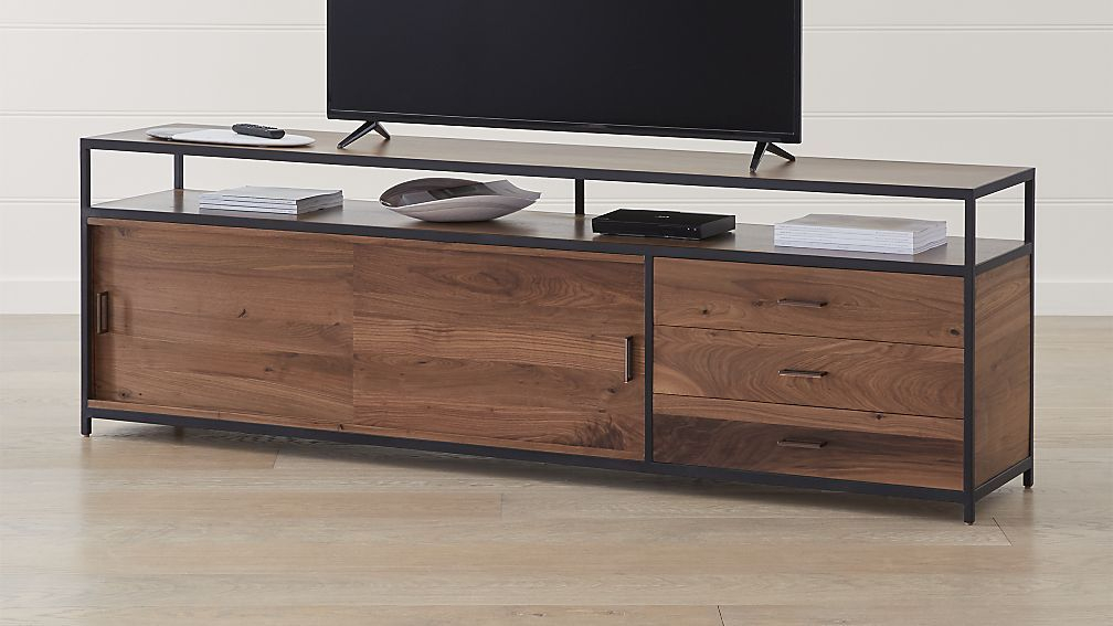 """Widely Used Oak & Brass Stacking Media Console Tables For Knox Black 90"""" Industrial Media Console (Image 25 of 25)"""