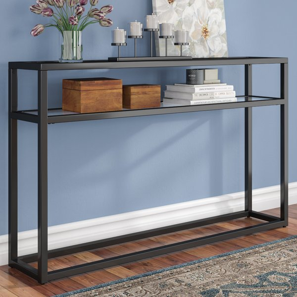 Widely used Oak & Brass Stacking Media Console Tables throughout 8 Foot Console Table