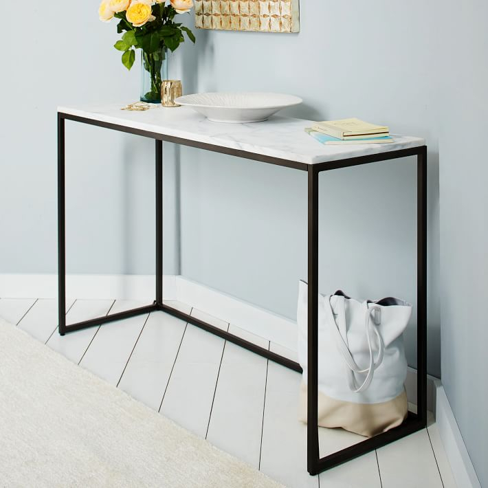 Widely Used Parsons Black Marble Top & Elm Base 48X16 Console Tables Within Marble Top Console Table – Bwburnett (Image 24 of 25)