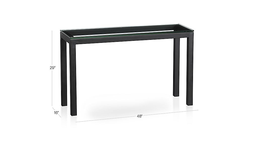 Featured Image of Parsons Clear Glass Top & Dark Steel Base 48X16 Console Tables
