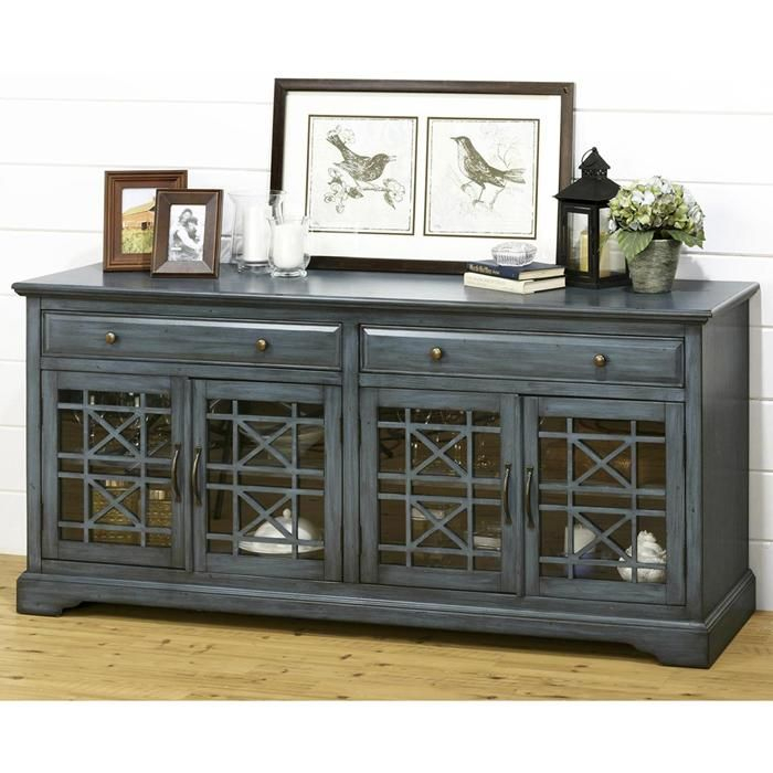 """Widely Used Sinclair Blue 64 Inch Tv Stands With Regard To Craftsman 70"""" Tv Console In Antique Blue (Image 25 of 25)"""