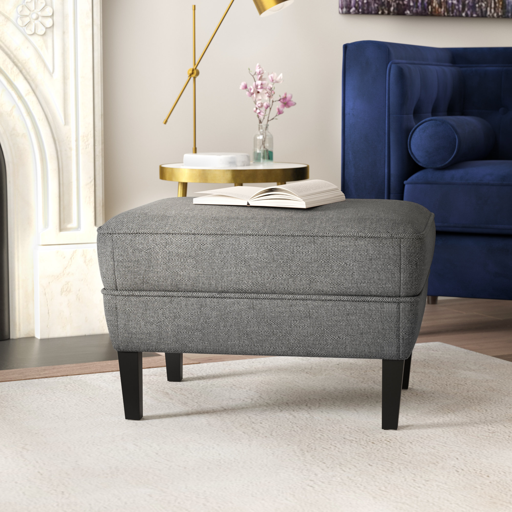 Willa Arlo Interiors Aquarius Ottoman & Reviews | Wayfair Inside Aquarius Dark Grey Sofa Chairs (Image 23 of 25)