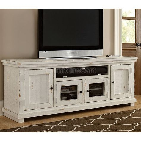 Willow 74 Inch Entertainment Console (Distressed White) (View 20 of 25)