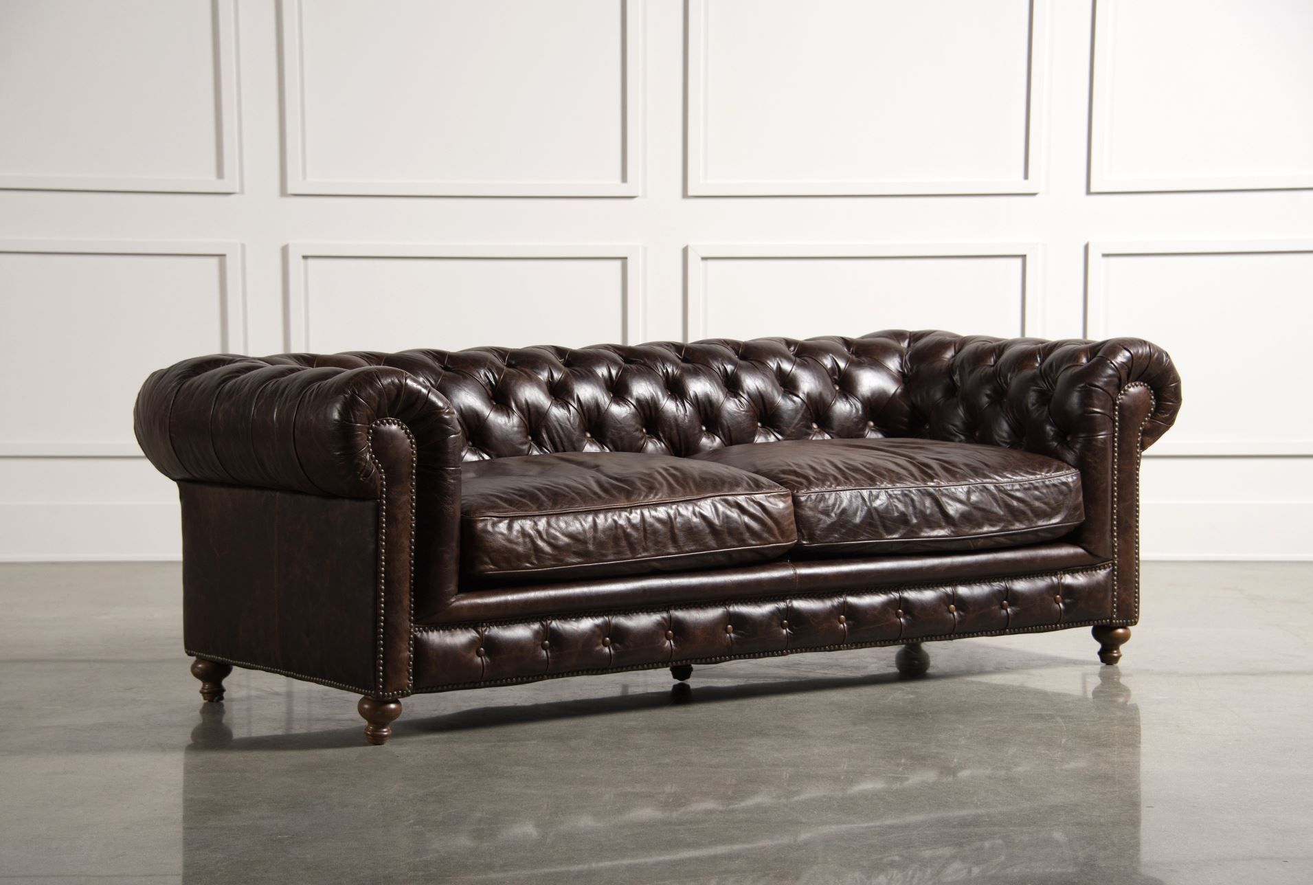 Winthrop Sofa The Classic Lines Of This Chesterfield Sofa Is One Within Mansfield Graphite Velvet Sofa Chairs (View 3 of 25)