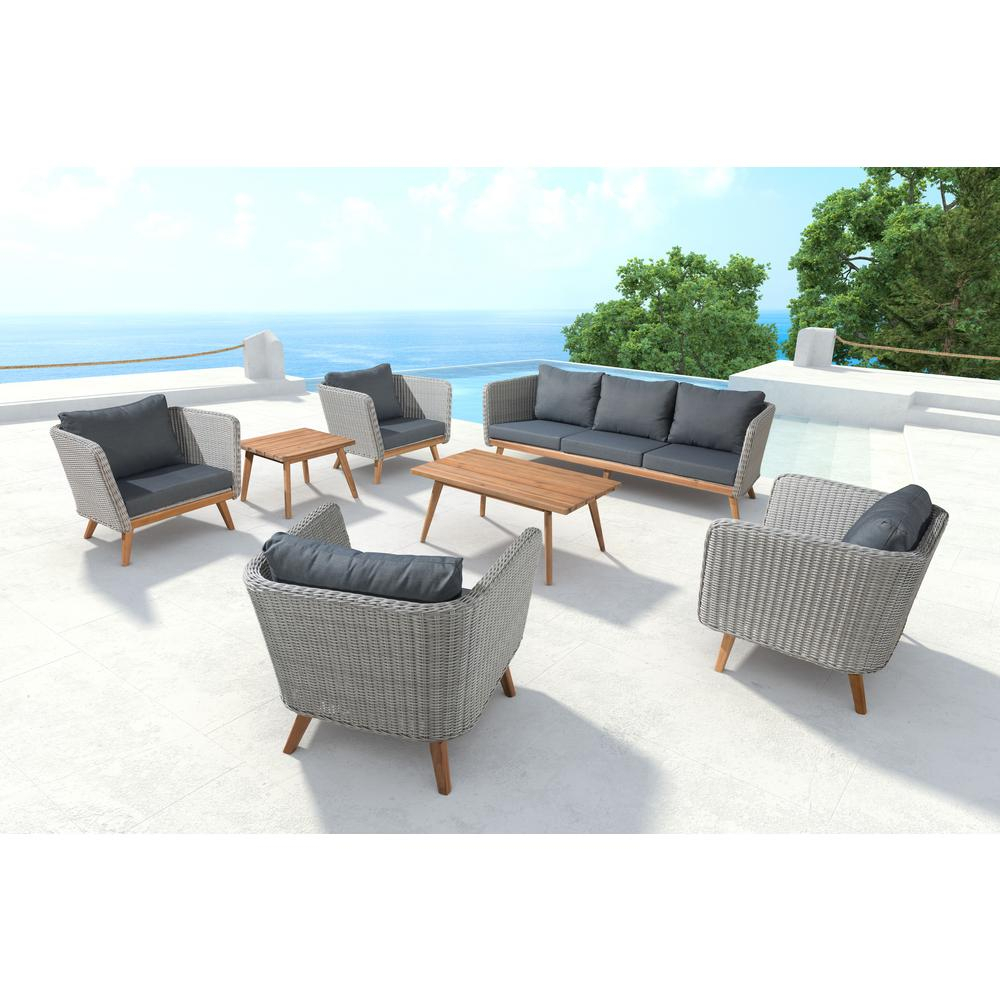 Zuo Grace Bay Patio Sofa In Natural And Gray 703749 – The Home Depot Throughout Grace Sofa Chairs (Photo 10 of 25)