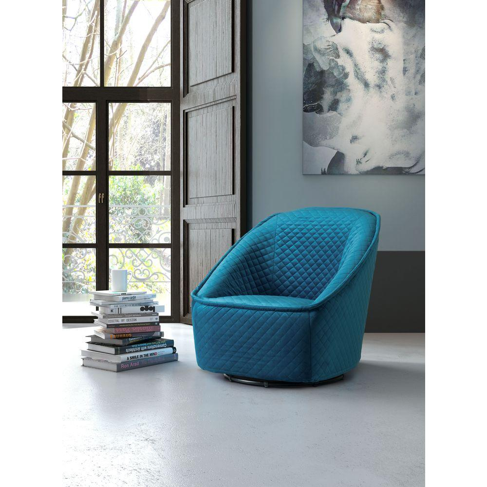 Zuo Pug Quilted Aquamarine Velvet Swivel Arm Chair 100251 – The Home For Loft Black Swivel Accent Chairs (View 18 of 25)