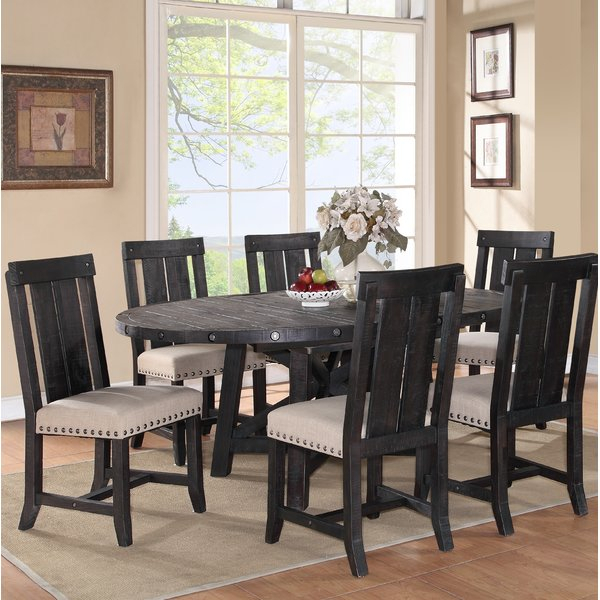1 Gaudette 7 Piece Solid Wood Dining Setgracie Oaks Spacial Inside Poynter 3 Piece Drop Leaf Dining Sets (View 21 of 25)