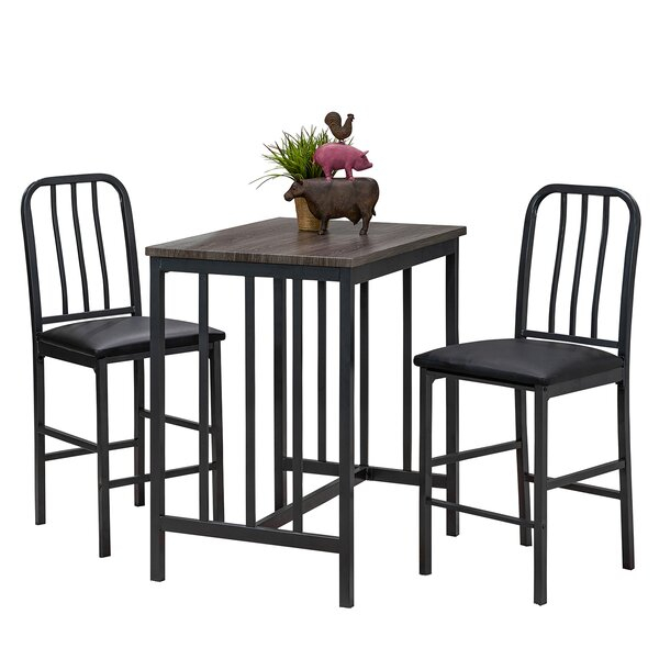 1 Villalba 3 Piece Pub Table Setwilliston Forge Read Reviews Pertaining To Anette 3 Piece Counter Height Dining Sets (View 5 of 25)