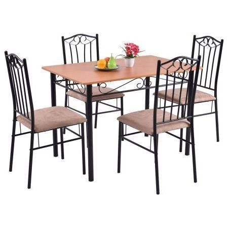25 Home Decor Dining Table Set,for Four,wood Metal, 5 Piece Wooden Inside Conover 5 Piece Dining Sets (Photo 22 of 25)