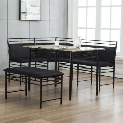 3 Pc Gray Black Metal Breakfast Nook Dining Set Corner Booth Bench Faux  Marble Intended For 3 Piece Breakfast Nook Dinning Set (Image 1 of 25)