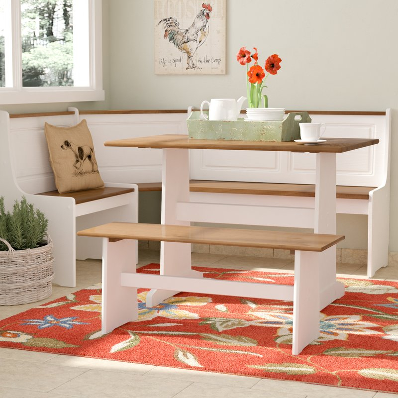 3 Piece Breakfast Nook Modern August Grove Birtie Dining Set Reviews Within 5 Piece Breakfast Nook Dining Sets (Image 1 of 25)