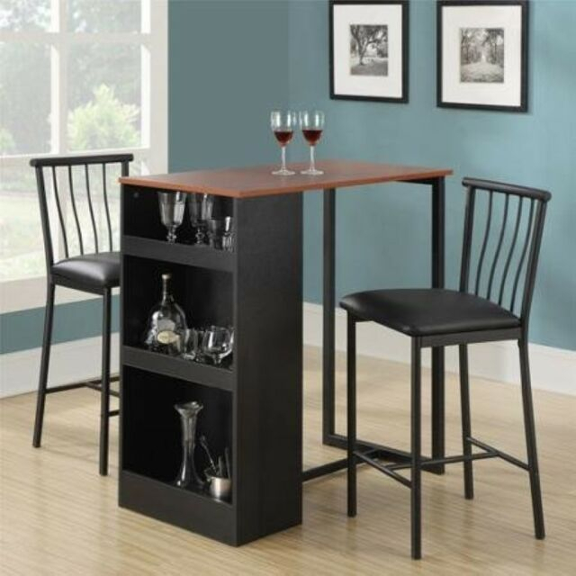 3 Piece Dining Set Dinette Breakfast Nook Table Chairs Kitchen Storage New for 3 Piece Dining Sets