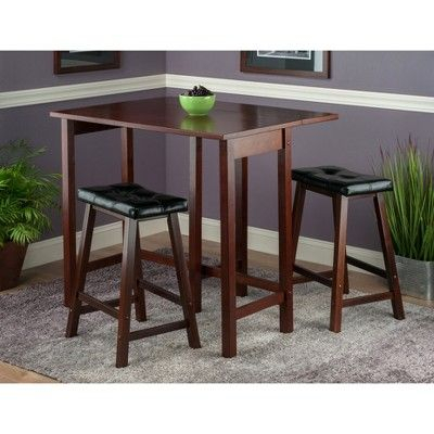 3 Piece Lynnwood Set Drop Leaf High Table With Cushion Counter intended for Bettencourt 3 Piece Counter Height Dining Sets