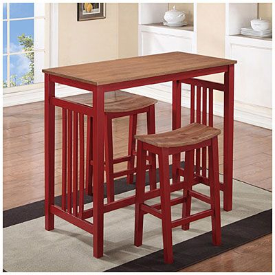 3-Piece Red Breakfast Dining Set At Big Lots- To Place Against for 3 Piece Breakfast Dining Sets