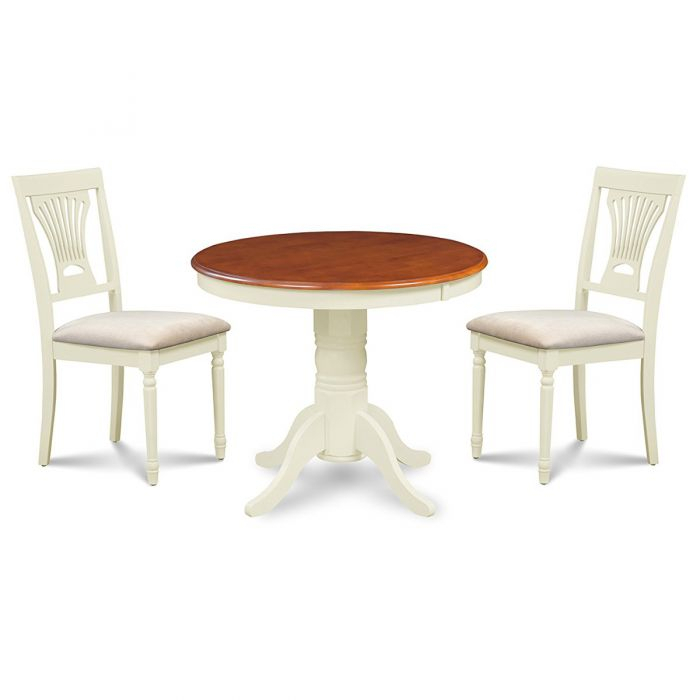 3 Piece Solid Wood Alice Dining Set - Round Dining Table In White And Cherry Table Top And Upholstered Seat Dining Chairs pertaining to Lonon 3 Piece Dining Sets