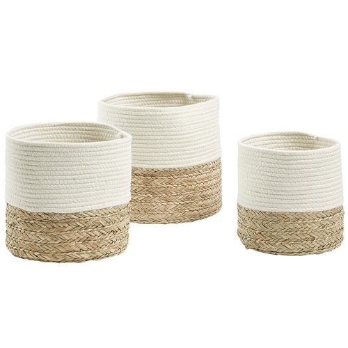 3 Piece White & Natural Giles Basket Set For Giles 3 Piece Dining Sets (View 11 of 25)